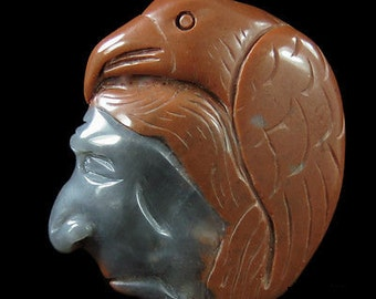 Hand-Carved Native American face with Crow in Succor Creek Jasper Pendant