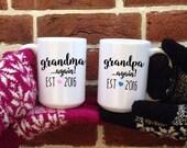 Grandparent Mug set, Grandma Again, Baby Reveal mug, Couples Set, Gift for parents, baby Announcement, grandma mug, Mothers Day Mug, Cute