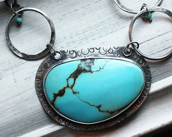 Silver Turquoise Necklace with Large Turquoise Cabochon