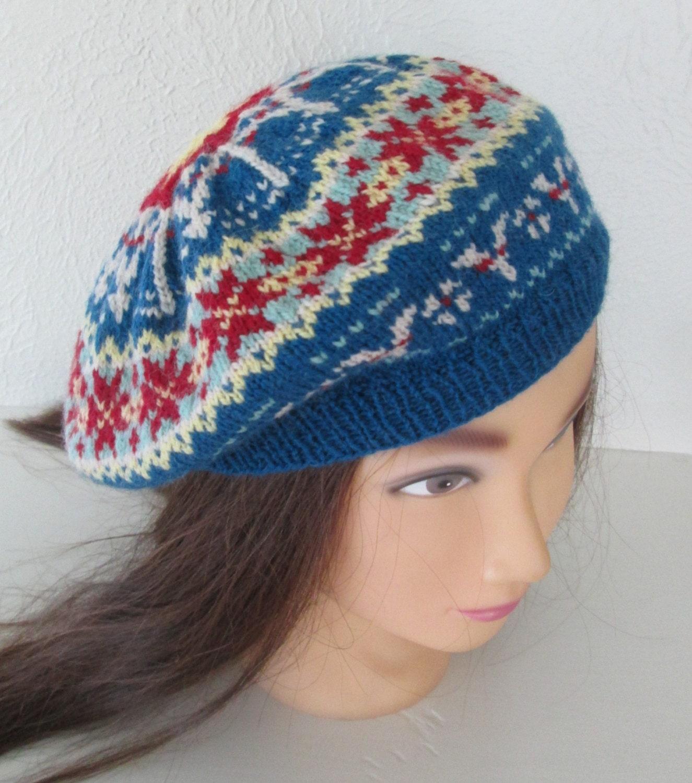 Fair Isle Beret Knitting Pattern : Fair Isle Beret Hat Tam Hand Knit Vintage 1940s Style Land