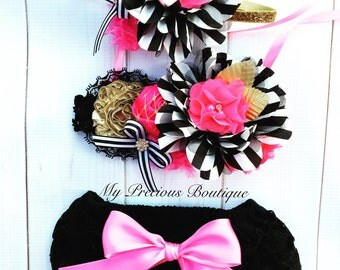 Kate Spade inspired birthday outfit, ruffle diaper cover and headband, black ruffle bloomers, white black striped, hot pink and gold outfit