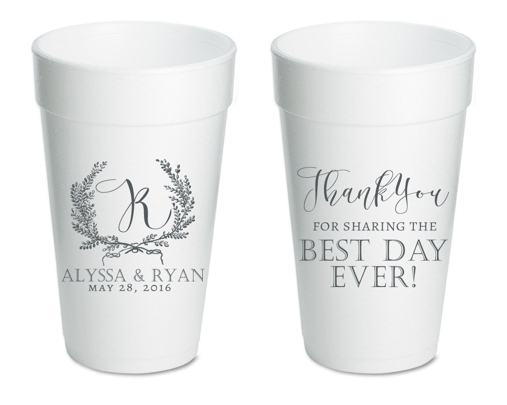 anniversary party cups rehearsal dinner cups foam wedding