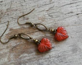 Leaf Earrings Red Maple Leaf Tiny Simple Earrings