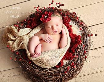 Stretch wrap - 'GOLDEN SHIMMER' newborn stretch wrap  / scarf - prop blanket - knitbysarah - Stitches by Sarah