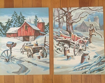 Vintage Paint by Number...Red Barn Winter Scene