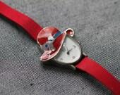 Womens quartz watch red strap