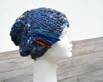 Cobalt blue big Hand knited Slouchy hat soft warm ooak unique fashion design felt decoration, fall winter beanie chunky 12