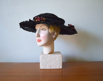 Edwardian hat . vintage 1900s antique wide brim hat