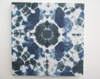 Tie-dyed Wall Art on Linen to Hang or Frame in Deep Green, Gray, Indigo-blue, and Cream
