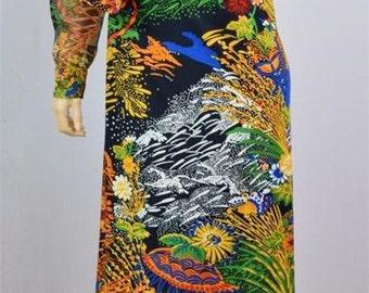 Vintage 1970's Women's Don Luis De Espana Psychedelic Couture Designer HiPPiE BoHo Maxi Dress