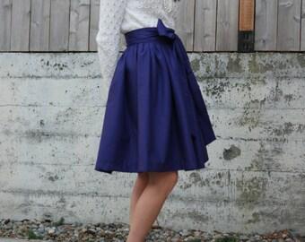 Purple Retro Bow skirt with sash