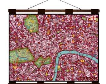 LONDON Map 1E- Handmade Leather Wall Hanging - Travel Art