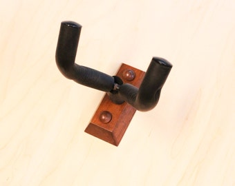 Handcrafted Guitar Wall Hanger / Holder - Brown Mahogany