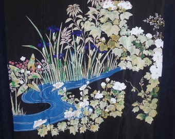 Freer Gallery of Art Designer Vincente Minetti Silk Scarf Japanese Flower Garden  unframed  30 x 31