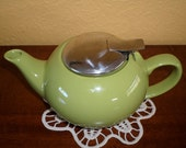 Vintage One CUP/GREEN CHINESE Tea Pot/One Serving/Lime Green/Stainless Steel LId