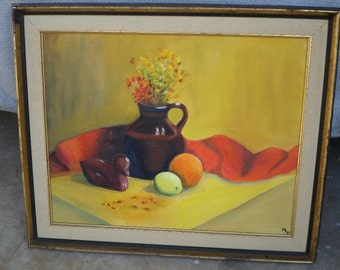 Still Life/1975 M.A.F. Bright Colors, Fruit, Brown Jug, Wood Duck/Gold Brown/Wood Frame
