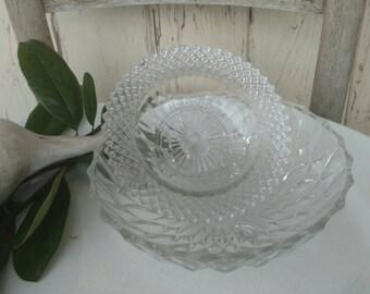 2 Vintage Serving Bowls - Mismatched Pressed Glass Serving Ware, Antique Pressed Glass, Wedding Serving, Party Food Bowls, Candle Holder Set