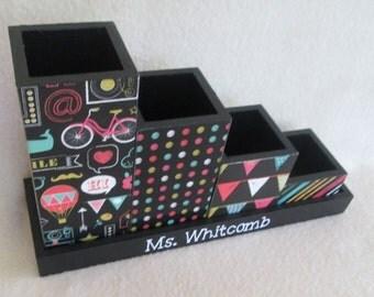 Desk organizer - Desk Set - Pencil Cup Holder Set - Chalkboard - Personalized - Gift