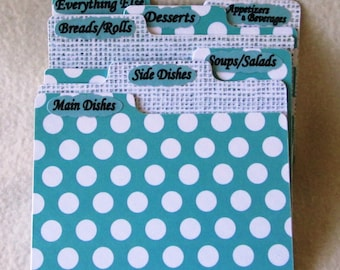 Recipe Card Dividers - Teal Polka Dot