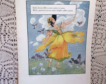 Vintage 1915 Nursery Rhyme Print Color Lithograph Daffy Down Dilly Childrens Illustration and Margery Daw