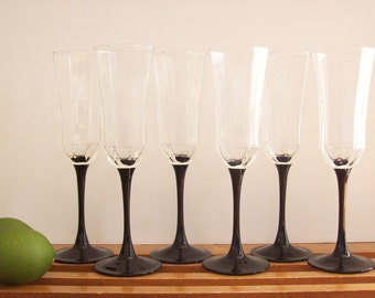 French Crystal Champagne Flutes, Octagonal with Black Stems, Vintage Stemware, Champagne Glasses, Retro, Set of Six 6