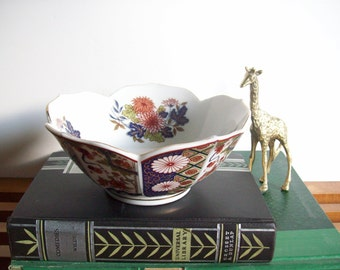 Vintage Asian Lotus Bowl, Chinoiserie Chic, Imari Style, Decorative Bowl, Japanese Porcelain