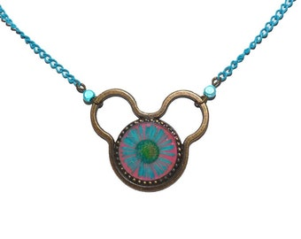 Cute Disney Necklace daisy Minnie mouse pendant blue pink jewelry for child girl dry flower on etsy kawaii cute Mickey Mouse kids jewelry