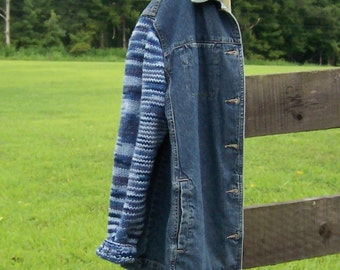 Denim Jacket Sweater Sleeves Women's Extra Large, Yarn in Blue Denim Stripes Warm and Cozy Upcycled Denim, Hand Knit Sleeves