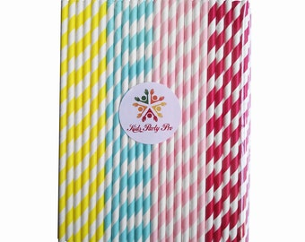 free shipping paper straws colorful stripe paper straws 19.7cm L 4 colors U pick 100pcs
