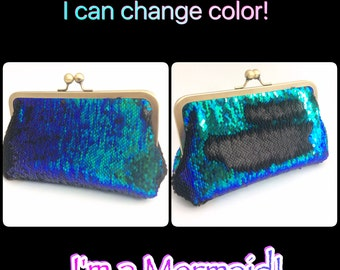 New size available I'm a Mermaid Sequin Clutch Made to Order