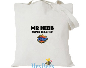 Teacher Tote Bag, Thank You Gift, Personalized teacher gift, Superhero, teacher thank you gift, teacher gift, school gift, teacher gift