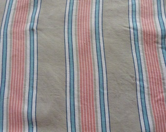 Vintage ticking mattress cover case w French grey blue pink striped linen ticking fabric, striped mattress toile French sewing supply fabric