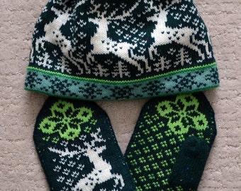 NORWEGIAN Scandinavian Hand Crafted 100% wool HAT and MITTENS set, M / L, folk art, Reindeer