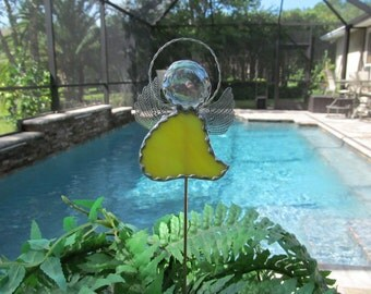 Yellow Opalescent Stained Glass Angel - Potted Plant Stake - Memorial Marker  -  Garden Stake