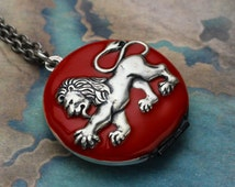 Lion Locket Necklace - Enameled Heraldic Lion Locket - Red Lion Locket - Lion Jewelry