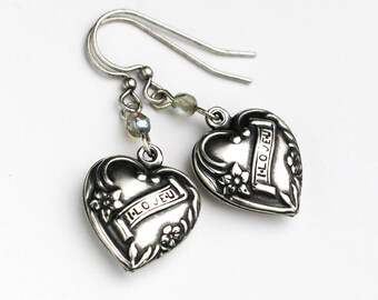 Silver Heart Earrings, Heart Jewelry, Heart Earring, Love Earring, Wedding Jewelry, Romantic Gift, Vintage Style Heart, Dangle Earrings