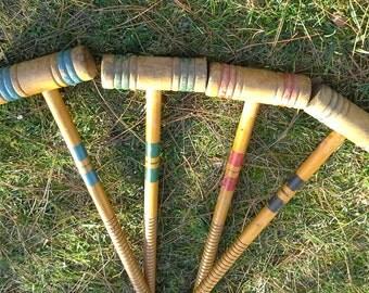 Vintage Croquet Mallets - Set of 4