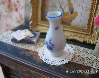 Delft Rose Tall Vase for Dollhouse Miniature.