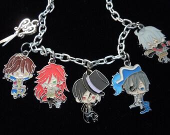 Black Butler Anime Bracelet, Anime Jewelry, Black Butler Charm Bracelet, Chibi Sebastian