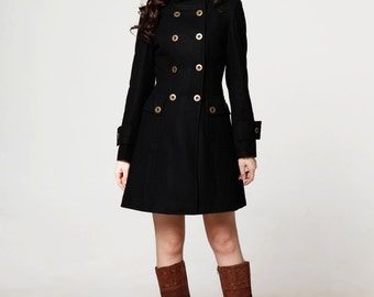 Black Double Breasted Military Wool Jacket - NC563