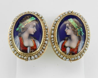 Antique Victorian 14K Yellow Gold Hand Painted Seed Pearl Clip-On Earrings RARE
