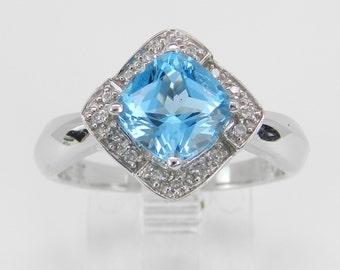 Diamond and Blue Topaz Halo Promise Engagement Ring 14K White Gold Size 7.25