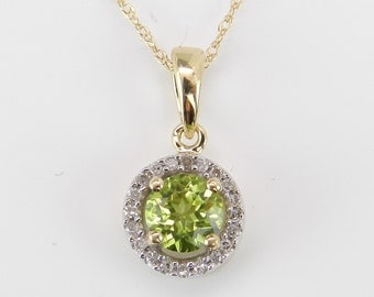 "Diamond Peridot Halo Pendant Necklace 14K Yellow Gold 18"" Chain August Birthday"