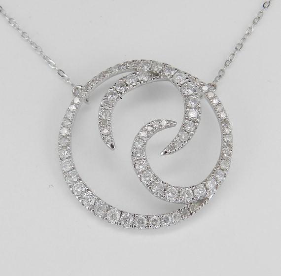 "Diamond Circle Necklace Pendant 14K White Gold Wedding Necklace Chain 17"" Modern"