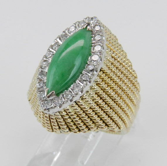 Jade and Diamond Halo Ring Antique Vintage Ring 14K Yellow Gold Green Size 6