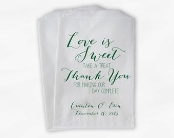 Love Is Sweet Our Day Complete Wedding Candy Buffet Treat Bags - Handwritten Favor Bags in Dark Green - Custom Paper Bags (0169)