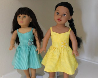 Green or yellow striped summer dress for 18 inch doll