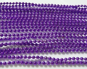 5, 70cm, 2mm, Purple Ball Chain Necklace 2mm with Connector 70cm, 5 piece package includes