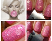 NEW Beautiful Pink Bubble Gum: Custom Blended Glitter Nail Polish/ Indie Lacquer/Paris Sparkles