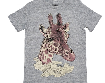 Giraffe t-shirt graphic tee illustrated t-shirt mens t shirt screen print organic t shirt means wear for him  apparel  illustrated gift